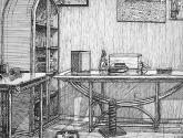 bodegón con mesas y armario