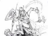 guerrero en acción