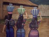 mujeres portando tinajas
