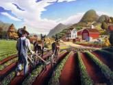 cultivating the peas folk art farm americana landscape oil painting