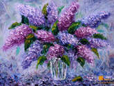 flowers oil painting - bouquet fresh flowers lilac. painting for sale.