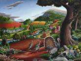 turkeys in the hills folk art farm americana landscape oil painting