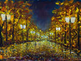 lonely night park new city landscapes impasto art