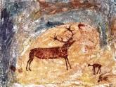escena rupestre de ciervo y gamuza, nerpio