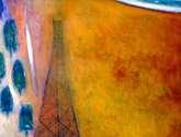 torre sobre campo naranja; el establo   1.20 x 1.00 cm.  óleo/tela