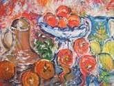 bodegon con frutas y cacharros