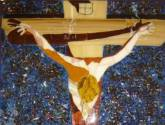 cristo de dalí, mosaico de vidrio