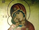 icono de la virgen con el niño. tabla dorada con pan de oro. por encargo