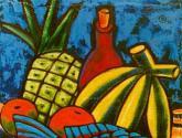 composição com peixe e abacaxi