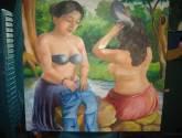 mujeres bañando en el rio