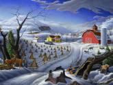 rural winter folk art farm americana landscape
