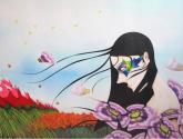 violeta entre las flores