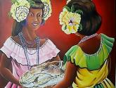 mojongos(mujeres) con flores y peces.