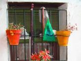 Elementos y mazetas colgados en la ventana