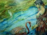 mujer con pelicano