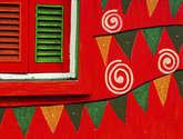 kolkata - detail of a beautifully painted housewall