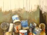 bodegon con latas de pintura( obra calle beates)