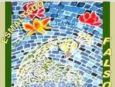 mosaico del pavo real azul