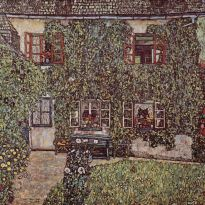 forest house in weissenbach on the attersee lake, 1912