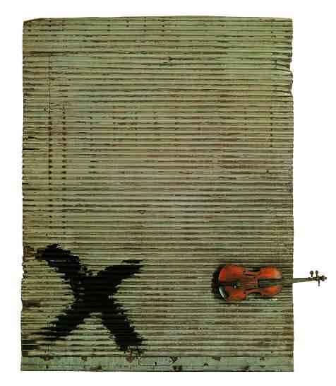 Antoni Tàpies, Porta metàl·lica i violí, 1956.Fundació Antoni Tàpies, Barcelona  Vegap